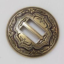 """【KBS01】1-1/4"""" Slotted Concho 2-Tone Leathercraft Saddle Tack Belt Antique-Bronze"""
