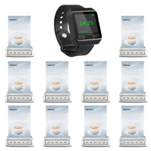 SINGCALL Wireless Calling System 1 Wrist Receive and10 Buttons for Cafe, Bar