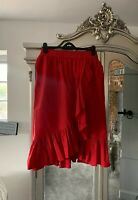 Red ASOS Ruffle,wrap Skirt Size10uk
