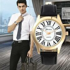Fashion Geneva Roman Number Leather Watch Men Analog Quartz Dress Wrist Watches