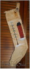 SALTBOX & TREE Handpainted Christmas Stocking-Primitive,Folk Art,Country,Prim