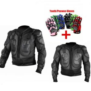 Motorcycle MX Full Body Armor Jacket Gloves Motocross Spine Chest Protector Gear