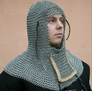 MEDIEVAL KNIGHT Full Mantle CHAIN MAIL COIF HEAD ARMOR with AVENTAIL Down Up New