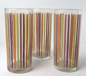 Vtg MCM Ocean Thailand Glassware 1960 Set of 3 Barware Stripes Purple/Orange/grn