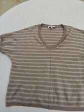 Women's Tan and Silver Striped Sweater by Ann Taylor Loft size Large L