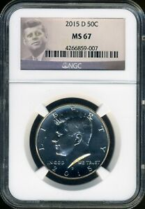RARE PROFLIKE Kennedy 2015-D NGC **MS67** EXTREMELY Brilliant Spot Fre  untoned