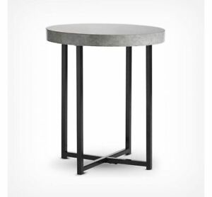 Concrete-Look Round Side Table Modern Lightweight Contemporary Furniture