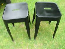 A PAIR OF INDUSTRIAL  TOLIX STYLE BLACK STEEL FRAMED  LOW STOOLS