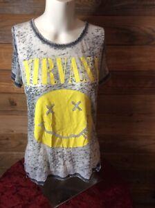 Nirvana smiley logo t-shirt women's burnout style thin soft Small