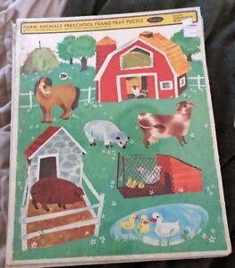 NEW 1966 FARM ANIMALS PUZZLE VINTAGE Whitman Frame Tray