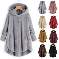 UK Women Winter Warm Hooded Casual Button Ladies Fleece Jumper Sweater Cardigans