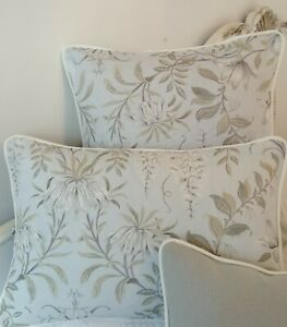 """12"""" x 18"""" Cushion Cover in Laura Ashley Parterre Sage piped Off White"""