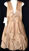 BCBG Crinkled Bubble Dress Gold Satin Size 6 NEW NWT $380