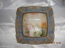 Nippon Square Serving Bowl~White~Peach~Blue Poppies~ Gold~Mark #47~Excellent