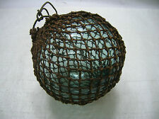 "Vintage Glass Fishing Float 9""-10"" in Natural Fibre NET Japanese Nautical"