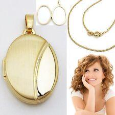Medaillon Amulett Anhänger für 2 Fotos Bilder Echt Gold 333 mit Silber Kette Vg