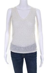 Marks & Spencer  Womens V Neck Sleeveless Sweater Cream Sequin Size 12