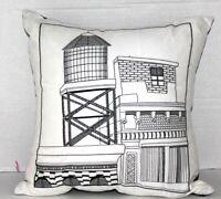 Bar III CityScape 16 In Square Decorative Pillow Black White