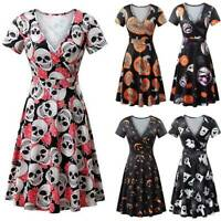 Women Retro V Neck Halloween Pumpkin Print Dress Casual Short Sleeve Flare Dress
