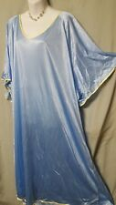 "COMFORT CHOICE  Blue Yellow Nightgown Long Length Nylon Plus Size 4X  76"" BUST"