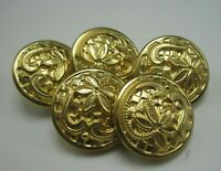 """Lot of 5 Vintage Brass Buttons Intricate Floral Pattern 3/4"""" Diameter T5"""