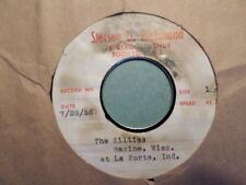 ONE SIDED TEST PRESS STETSON D RICHMOND acetate 45 RECORD /the KILTIES/RACINE WI