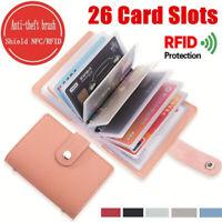 PU Leather Unisex Pocket Business ID Credit Card Holder Case Wallet for 26 Card