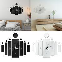 black silver diy 3d mirror quartz wall clock sticker home modern decoration FT