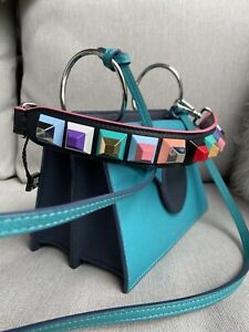 RRP £430 - BNWT, Fendi 100% Leather Bag Strap - in Pyramid Colourful Studs