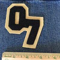 Patch Number 07 Black Vintage Varsity Letterman Jacket Sew On Felt