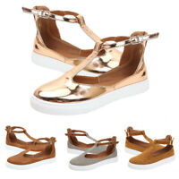 FJ- LADY CUTOUT BUCKLE FLATS ROUND TOE LOAFERS T-STRAP SNEAKERS SLIP-ON SHOES MO