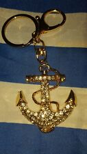 GREEK KEY CHAIN  Large Rhinestone  Greek Sailor Anchore New from Greece