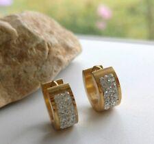 INOX cubic zirconia Gold-ionplated IP stainless steel Huggies earrings USA