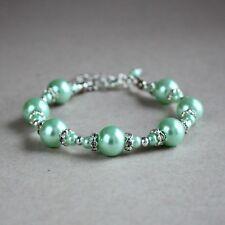 Silver mint green pearls beaded bracelet wedding bridesmaid bridal accessory