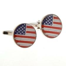 American Flag USA America Round Dad Pair Cufflinks Gift Box & Polishing Cloth