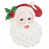 "4.5"" RAZ Glitter Santa Face Head Retro Vntg Style Christmas Tree Ornament Decor"
