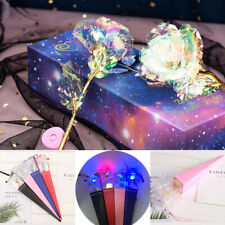 Gold Foil Rose Artificial Flower LED Luminous Galaxy for Mother's Day Valentine