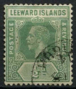 Leeward Islands 1912-22 SG#47, 1/2d Yellow-Green KGV Used #D22470