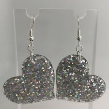Holo Silver Large Heart Glitter Charm Earrings Kitsch 5.5cm Long Holographic