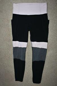 Women Sz Medium Athleta Modblock Salutation Tights Pants Hip Pockets Gray Pink