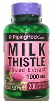 200 Capsules Milk Thistle Seed 4:1 Extract 1000mg Herbal Liver Support 100 Pill