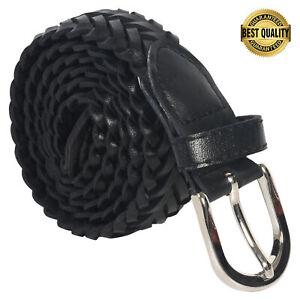 Leatherboss Genuine Leather Men Casual Belt Braided, Black