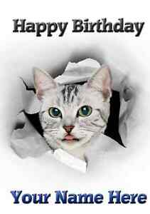 Googly Eyes Cat All Occasions Personalised Greeting Card Birthday PID019 Mum Dad