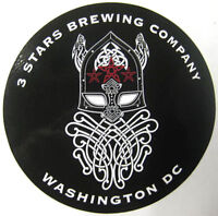 3 STARS BREWING COMPANY 5 inch Beer STICKER, Label with HELMET, WASHINGTON, D.C.