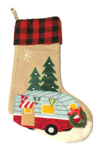 Buffalo Check Camper Christmas Stocking Tree 3D Wreath Embroidered Camp Cabin