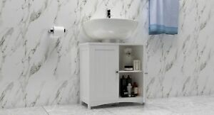 Woodluv Under Sink Bathroom Storage Cabinet & Cupboard - White