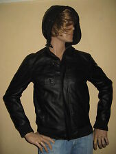 NEW MENS BOYS BLACK BENCH LEATHER LOOK HOODED FASHION JACKET SMALL 36/39 CHEST
