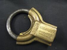 VINTAGE ANTIQUE STERLING JR CIRCULAR SHACKLE PADLOCK - UNUSUAL COLLECTIBLE LOCKS
