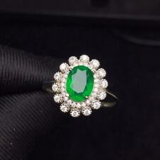 Certified Natural Colombian Emerald Ring 925 Sterling Silver Women Gift