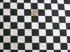 BLACK WHITE CHECKER BOARD RACING FLAG CHEF SEW CRAFT DECOR FABRIC HALF YARD